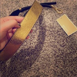 Michael kors leather gold guitar purse strap new
